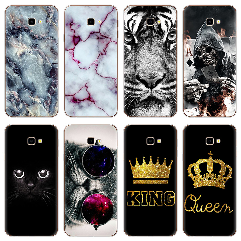"Cartoon Koning Koningin Marmer Kat Telefoon Soft Tpu Cases Voor Samsung Galaxy J4 Plus J4plus Case Silicon 6.0 ""case Coque Fundas Cover Beroemd Voor Geselecteerde Materialen, Nieuwe Ontwerpen, Prachtige Kleuren En Prachtige Afwerking"