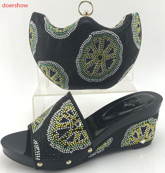 doershow New Arrival Ladies Italian Shoes and Bag Set blackColor Shoe and Bag Set African Sets Women Shoe and Bag to Match!WI1-1