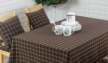 Brown cotton Multisize coffee lattice fabric linen tablecloth vintage table cover plaid dining checks american