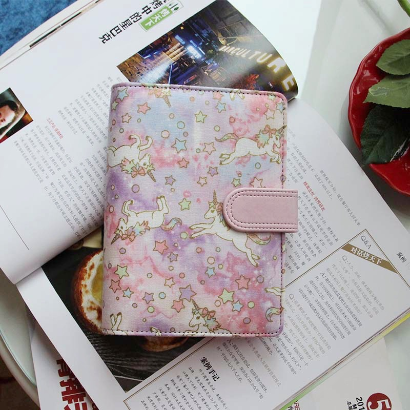 Dreamy Kawaii Colored horse cloth cover spiral notebook DIY Journal Diary Planner Notepad organizer Fresh hand book hobo supply a6 cute spiral notebook notepad pu leather colored flamingo sakura planner kawaii diary book school office supply papelari