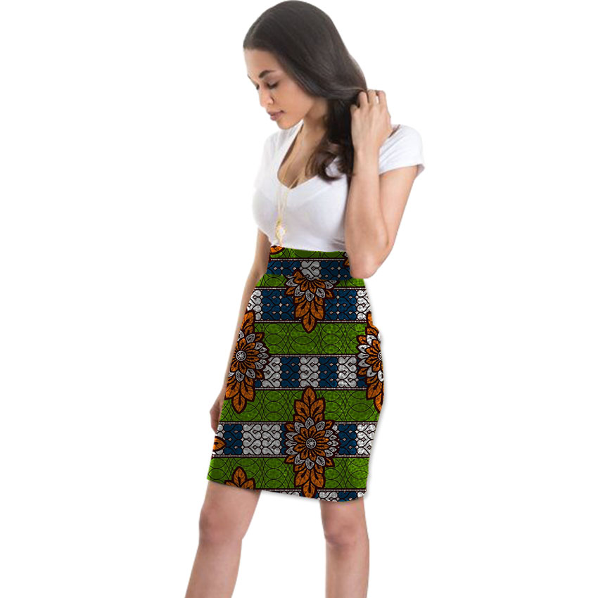 Elegant African Knee-Length Skirt Womens Colorful African Print Element Dashiki Clothing Tailor Custom For Wedding/Party
