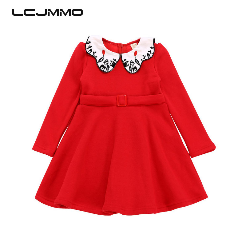 LCJMMO 3-11Years Fashion Princess Girls Dress 2017 Winter Kids Baby Embroidery Wool Long Sleeve Party Dresses For Girl Clothes princess girls dress 2017 new fashion spring winter children long sleeve cartoon baby girl cotton party dresses for kids f2 18h