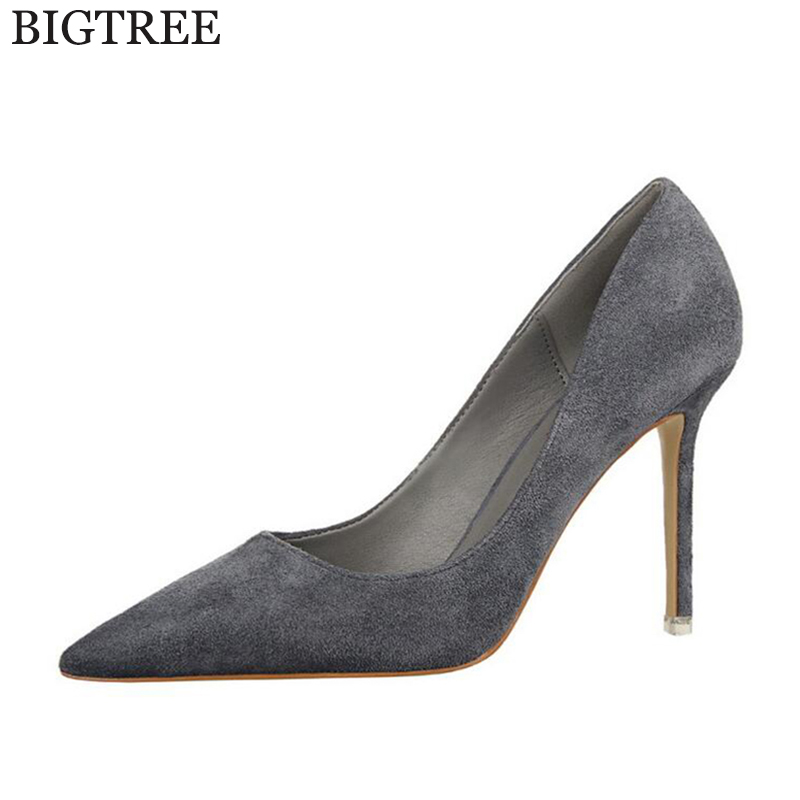 BIGTREE Wedding shoes Women Pumps High Heels Pointed Toe Sexy Women Shoes Soft For Lady High Heel Shoes k91 crew neck button embellished tee