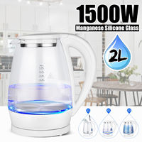 2L 1500W Portable Electric Blue LED Illumination Hot Water Tea Coffee Kettle Glass Quick Boiler Heater Pot 220V