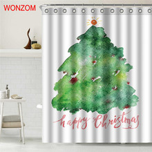 WONZOM Christmas Tree Shower Curtain Bathroom Decor Modern Waterproof Curtains For 2017 Gift