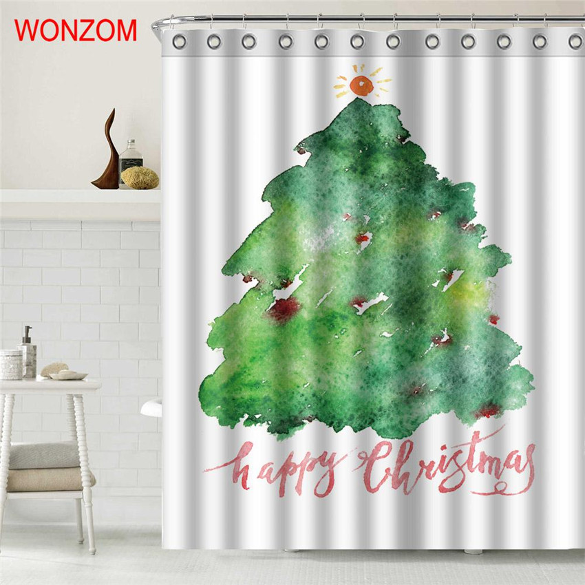 WONZOM Christmas Tree Shower Curtain Bathroom Decor Modern Waterproof Curtains For Bathroom 2018 New Arrival Christmas Gift