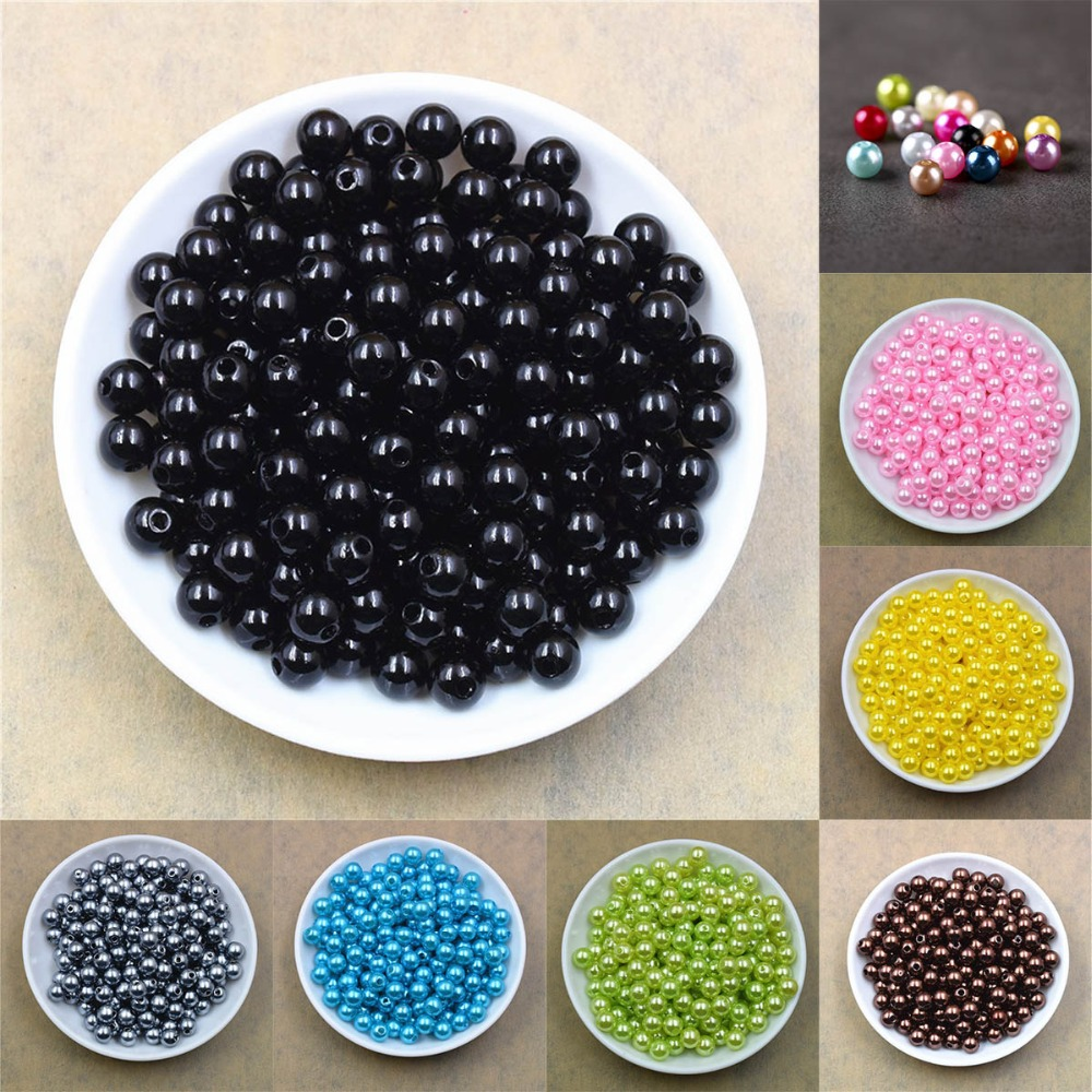 100pcs/lot 4/6/8/10/12MM With Hole Imitation Pearl Beads Round Plastic Acrylic Spacer Bead For Jewelry Making Findings Supplies