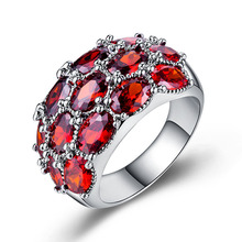 Diamond ring rose gold rings Crystal Moissan Ruby Ring Opal cubic zirconia Luxury ladies plated 925 silver copper B944
