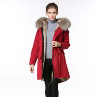 Long Red Parka Fashion Winter Wear,Natural Raccoon Fur Hoodies With Natural Lined Down Jacket