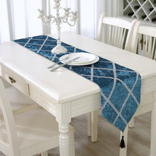 Simple modern Fashion bright silk table runner new Flocking fabric X net tablecloth