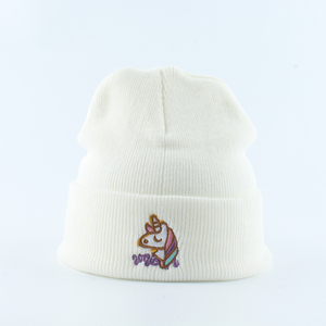 Image 5 - Gorro de punto para mujer, gorros holgados con bordado de unicornio, negros, estilo Hip Hop, para Otoño e Invierno