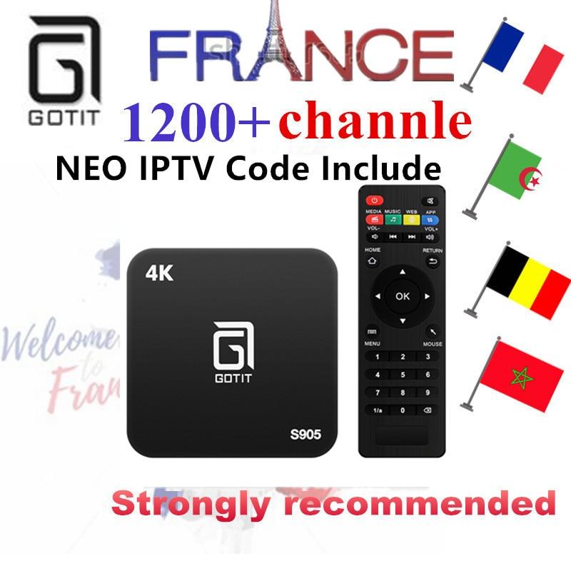 French Belgium IPTV GOTiT S905 4K Smart Android TV box 1000+NEOTV Portugal IPTV Arabic Tunisia Morocco Germany Italy PayTV & VOD