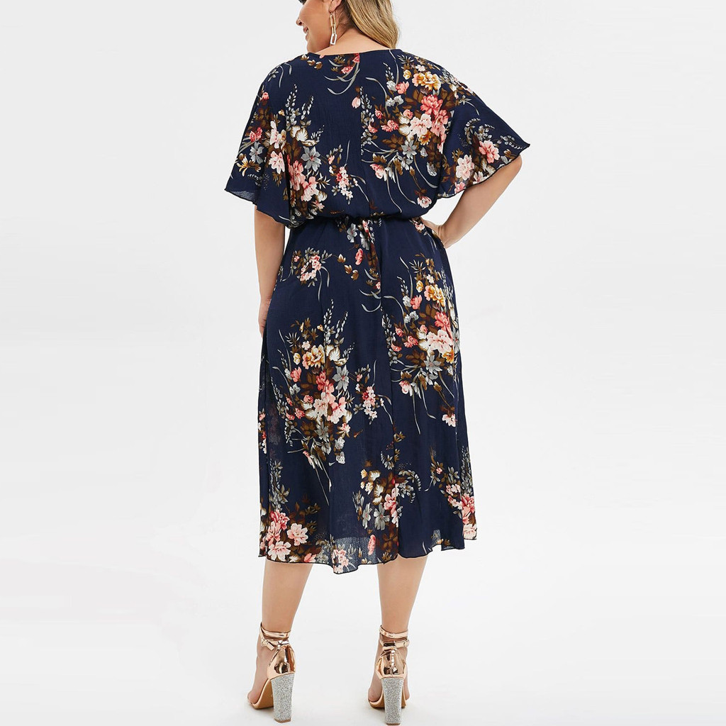 Dress Women Plus Size Fashion Women Floral Printed O-Neck Short Sleeve Casual Dress Evening Party Dresses Vestidos