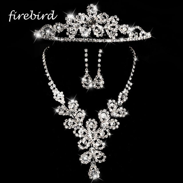 3pcsSet Fashion Crystal Western Bridal Jewelry Sets Sparkling