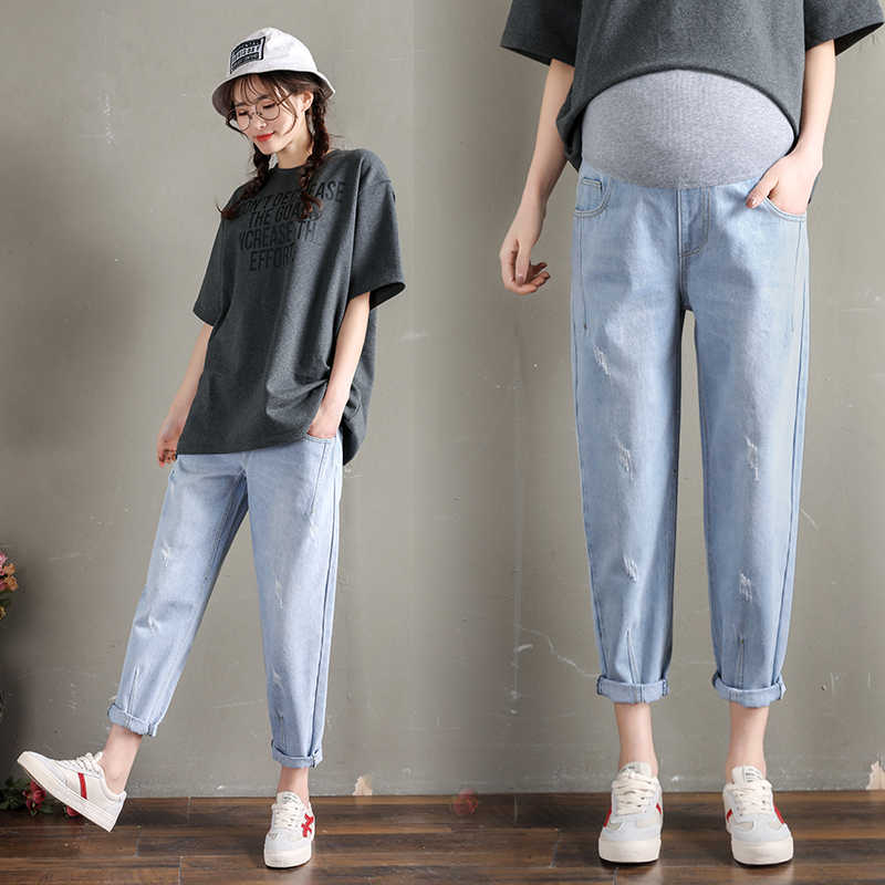 ee842594ba231 259# Vintgae Washed Denim Maternity Jeans Elastic Waist Belly Loose Pants  Clothes for Pregnant Women