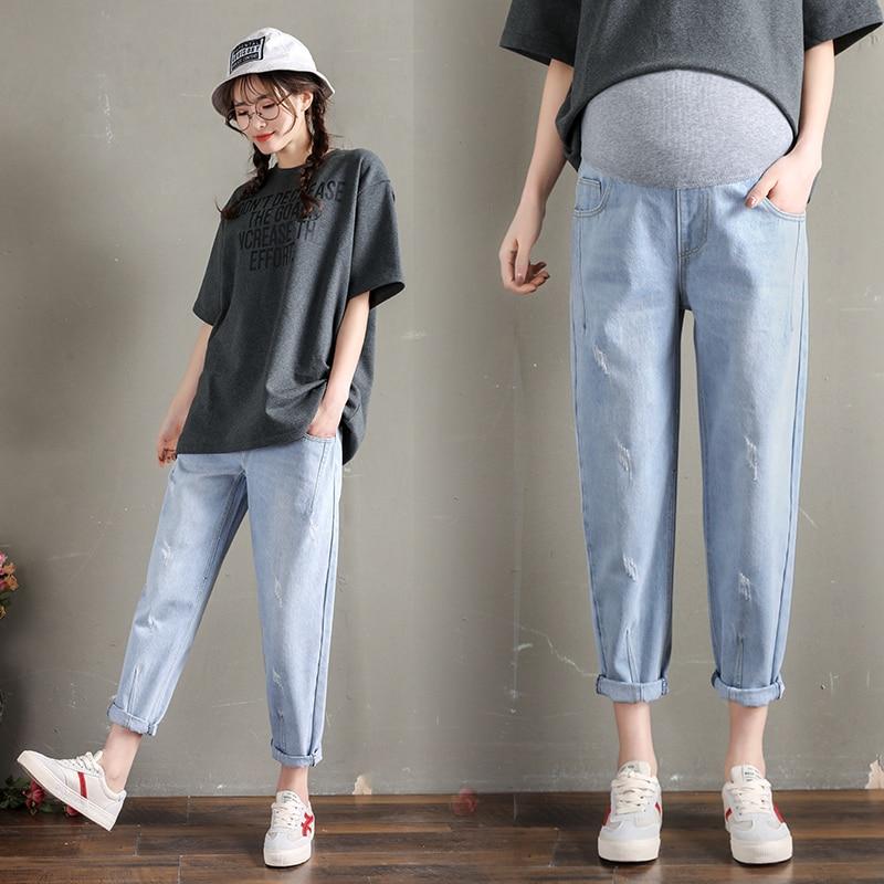 259 # Denim Stretch Lavado Calça Jeans Cintura Elástica de Maternidade Calças Barriga Calças Soltas Roupas para Mulheres Grávidas 9/10 Gravidez
