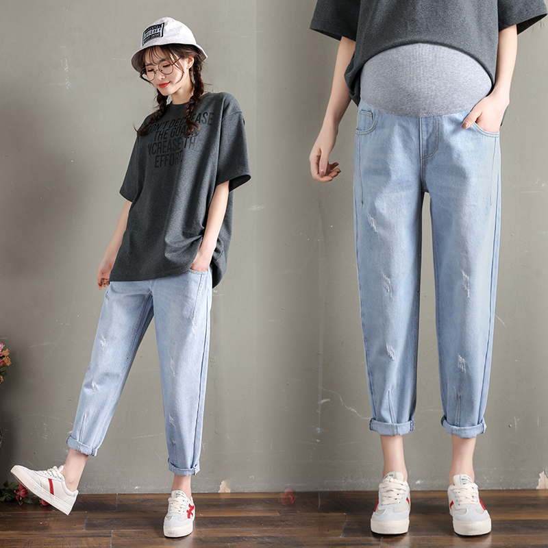 259# Washed Stretch Denim Maternity Jeans Elastic Waist Belly Loose Pants Clothes for Pregnant Women 9/10 Pregnancy Trousers image