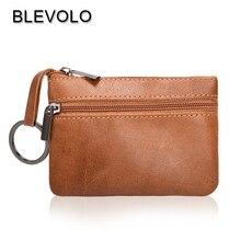 BLEVOLO, стиль, коровья кожа, кошельки для монет, мини, на молнии, для ключей, для карт, для монет, Карманный Кошелек, многофункциональный, короткий, винтажный кошелек, сумка для денег