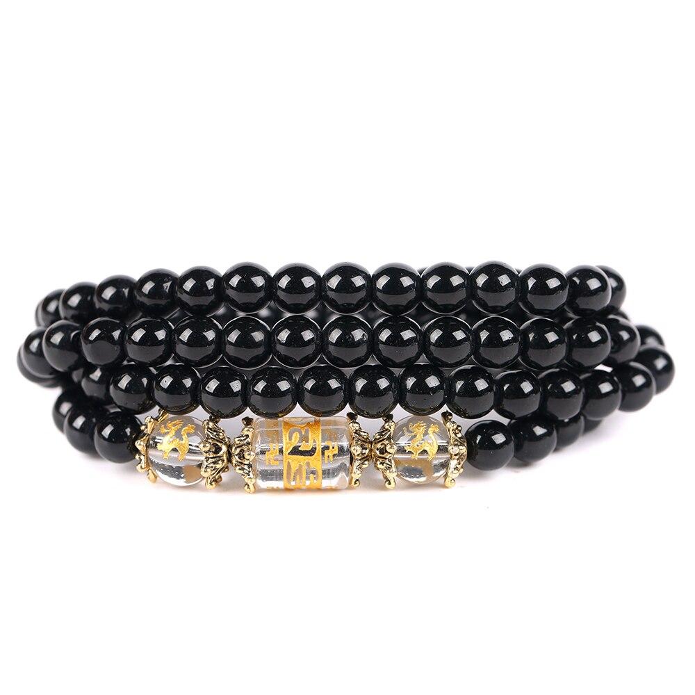 Handmade Natural Obsidian Beads Bracelet Zodiac Animal Buddha Stretch Bracelet Women Men Jewelry 1147