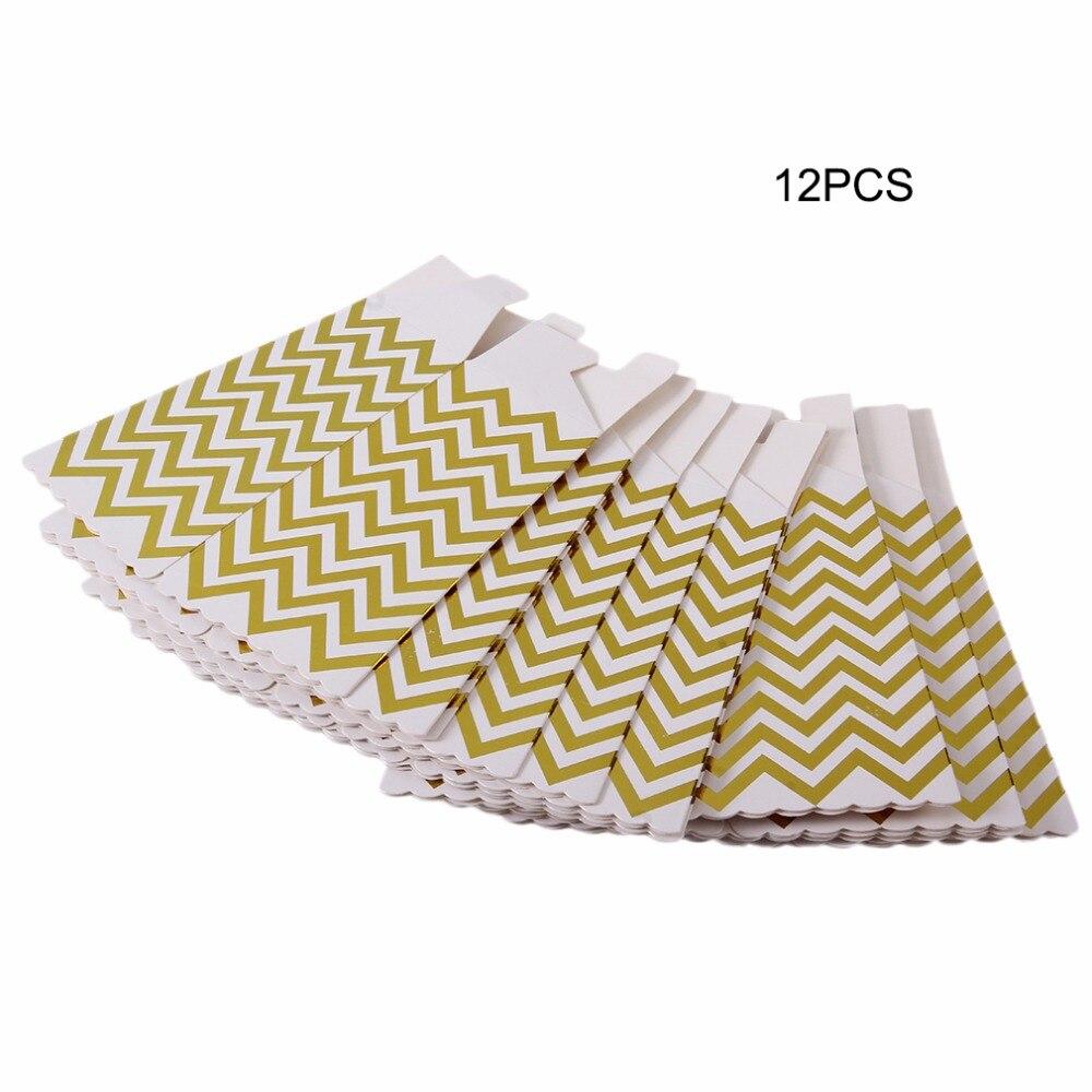 12 unids/lote boda partes aniversario suministros paquete especial de pollo palomitas de maíz de la caja de papel rayas doradas patrón