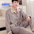 Hombres de otoño e invierno gruesa de dos piezas traje de manga larga pijama de franela hombre cálido terciopelo de coral chándal