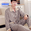 Men's autumn and winter thick two-piece suit long-sleeved flannel pajamas men warm coral velvet tracksuit