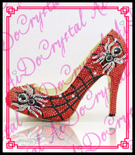 Aidocrystal Extrem High Heels Popular 2016 Spring Autumn Sexy red black crystal Spider High Heel Pumps Ladies Party Shoes
