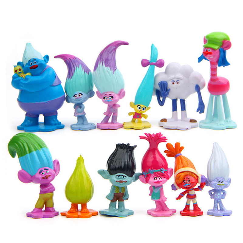 Trolls Movie 12Pcs/Set Dreamworks Figure Collectible Dolls Poppy Branch Biggie Figures Doll Toy Trolls Figures Toys For Kids girls dresses trolls poppy cosplay costume dress for girl poppy dress streetwear halloween clothes kids fancy dresses trolls wig