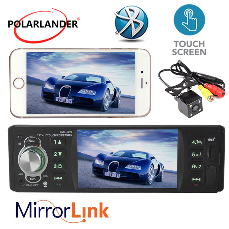 Car Stereo Radio MP3 MP4 Player 4.1'' HD Touch TFT screen 12V Car Audio RDS system/ FM/USB/SD/AUX Support Rear Camera Bluetooth