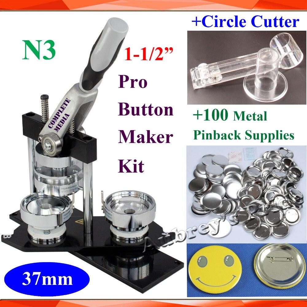 """Pro N3 nowy 1 1/2 """"37mm maszyna do buttonów z guzikiem + regulowany koło Cutter + 100 zestawy metalowe Pinback dostaw w Zestaw od Dom i ogród na  Grupa 1"""