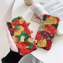 Gummy bear pattern cute case for iphone 7plus 8plus Wavy border candy scrub silicone soft cover 8 7 xsmax xr x 6