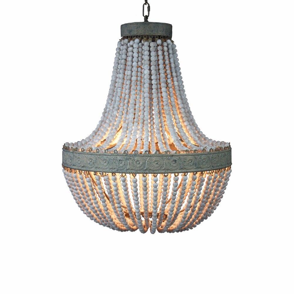 Кантри стиль ретро висит Лайм белые деревянные бусины подвесной светильник светодио дный огни E27 AC 110 V 220 V для спальни гостиной