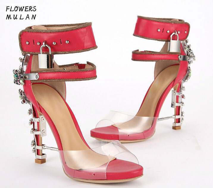 Hot Sale Luxury Brand Rhinestone High Heels Sandals Ankle Wrap Women Clear Sandals Boots Peep Toe Crystal Lady Lock Design Shoes luxury brand shoes women peep toe