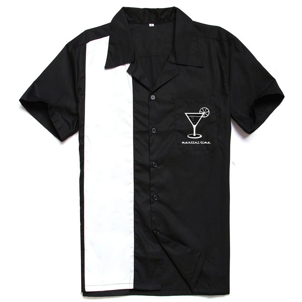 New Style 97%Cotton Martini Shirt With Cocktail Printing Service Vintage 40s American Men's Shirts For Party Dinner