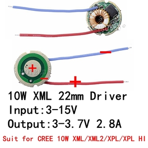 Image 1 - 1 قطعة 5 وضع/1 وضع المدخلات 3 فولت 15 فولت تيار مستمر 22 مللي متر LED سائق ل كري 10 واط T6 XML T6/U2 XM L2/U2 مصباح ليد جيب أو 12 فولت سيارة تعمل بالبطارية ضوء