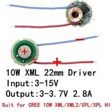 Lumière de voiture, 1 pièce, 5 modes d'entrée 3V-15V dc 22mm, pilote pour Cree 10W T6 XML T6/U2/U2 ou batterie 12V