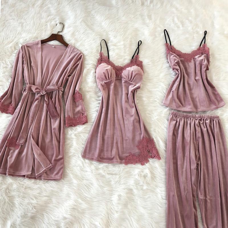 QWEEK Women Pajama Sets 4 Pieces Sets Pijamas Women Sexy Lace Pajamas For Women Winter Pijama Mujer Pink Sleepwear Female Soft