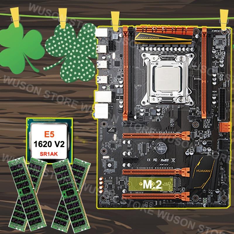 Célèbre marque HUANAN ZHI deluxe X79 carte mère avec M.2 SSD slot CPU Intel Xeon E5 1620 V2 SR1AR 3.7 GHz RAM 32G (4*8G) REG ECC