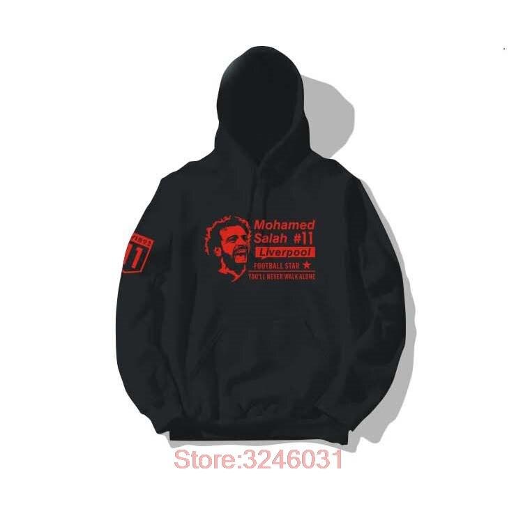 2019 Mohamed Salah m.salah black Hoodies Men Women Sweatshirts Top Printed Hooded Jumper Loose Hip Hop for fans gift 1238