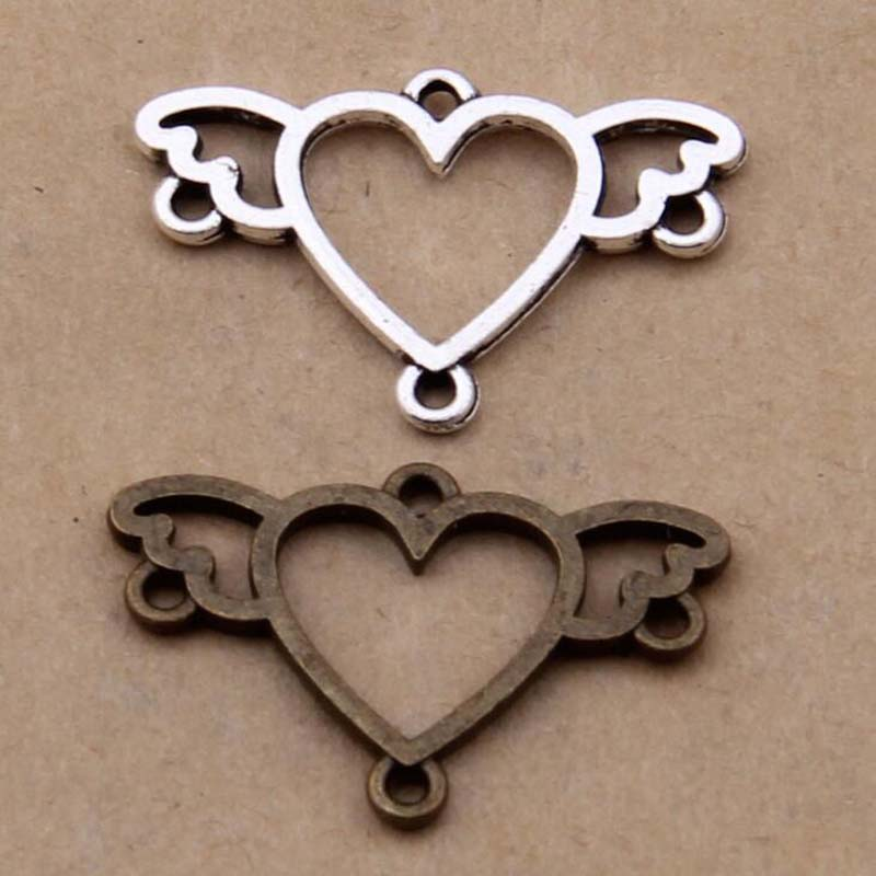 Lovely 20PCs Ornate Heart <font><b>Connectors</b></font> 16*25mm Findings image