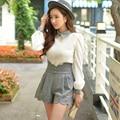 Dabuwawa invierno de cintura alta pantalones cortos de lana gris