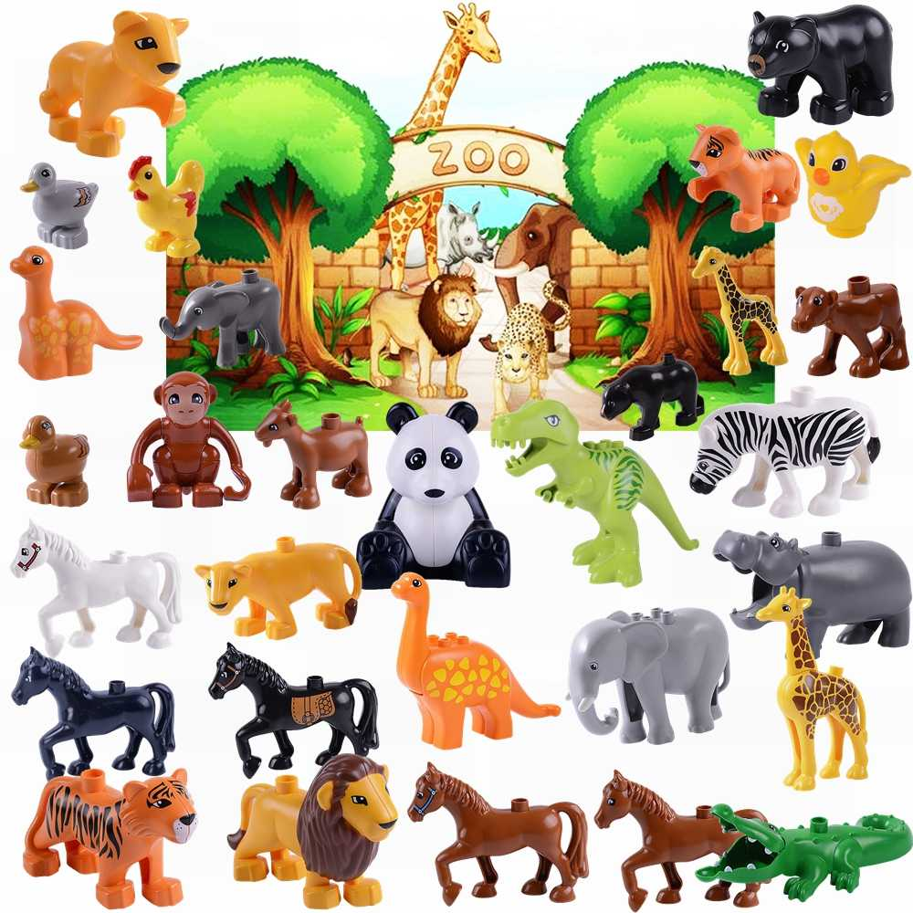 Legoing Blocks Duplo Animal Figures Set Large Particles Educational Building Blocks Baby Toys For Children Gift Duploed Dinosaur