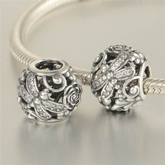 pandora gold and silver dragonfly charm