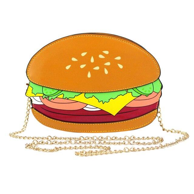 TEXU Уникальный hamberger шаблон Crossbody Сумки Женщины burger/французский жареный/pop corn форма Плеча Сумки фастфуд