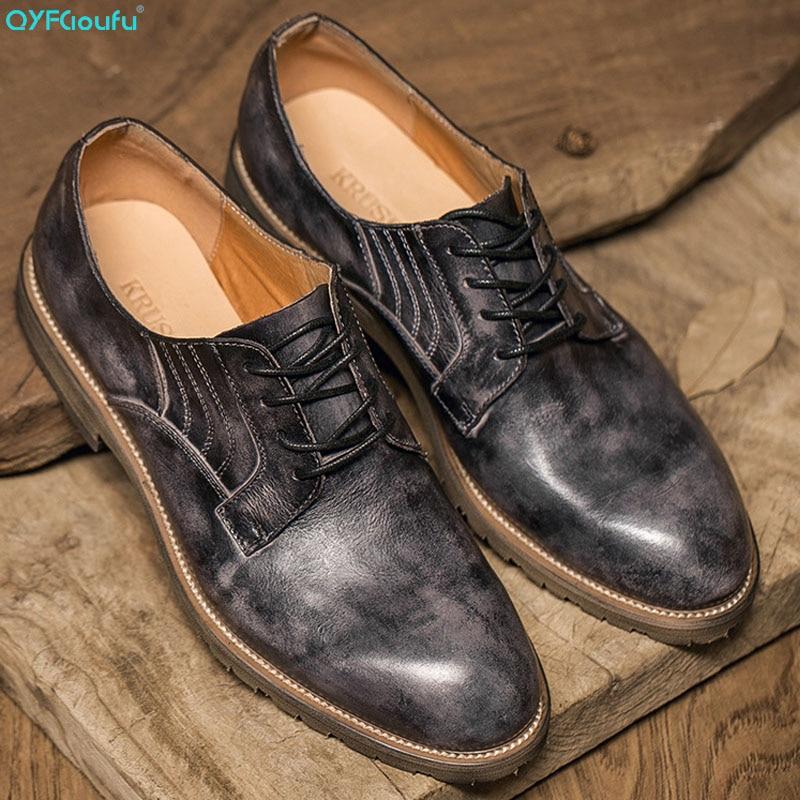 QYFCIOUFU Luxury Genuine Leather Men Business Pointy Dress Shoes Breathable Formal Wedding Basic Vintage