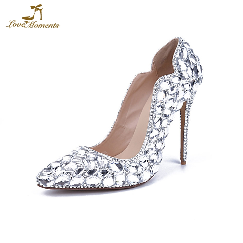 72460f339ca US $74.99 25% OFF|Theater Stage High Heels Silver Rhinestone Wedding Shoes  11cm High Heel Handicraft Birthday Party Shoes Bride Dress Shoes-in Women's  ...