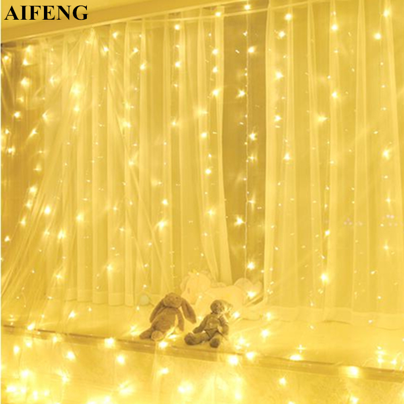 AIFENG 3Mx3M 300Led Curtain Light Silver Copper Wire Fairy Light Christmas Garland Wedding Party Holiday Decor Led Curtain Light