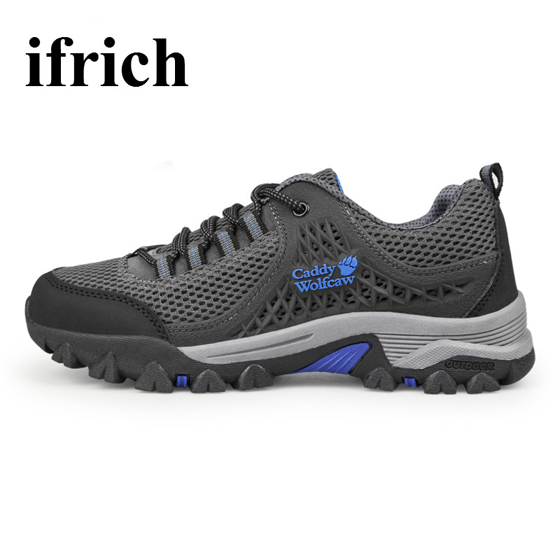 ФОТО Ifrich Men's Hiking Shoes Outdoor Sports Sneakers Breathable Mountain Climbing Shoes Army Green Mens Trekking Boots