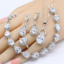 White Cubic Zircnoia 925 Sterling Silver Bridal Jewelry