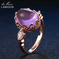 LAMOON 3 5ct 10x8mm 100 Natural Amethyst 925 Sterling Silver Jewelry Rose Gold Purple Ring For